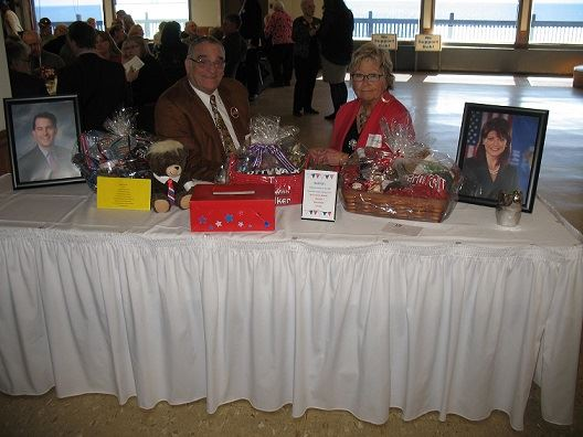 Our three raffle baskets:  Walker, Wisconsin and Trump motifs.  Thanks Helen and Jack Nasep!